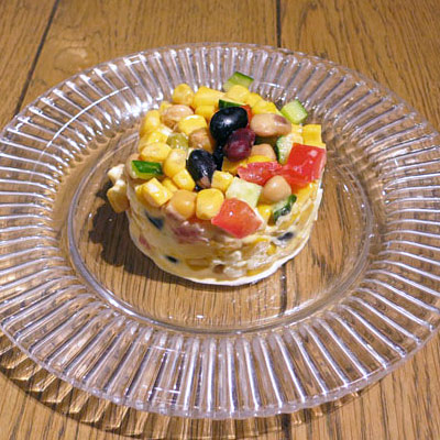 蒸しサラダ豆とコーンのサラダ