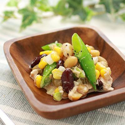 スナップエンドウと蒸し豆のツナマヨ和え