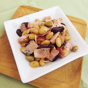 蒸しサラダ豆とベーコンの簡単おつまみ