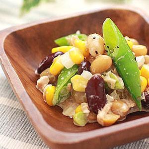 蒸し豆とスナップエンドウのツナマヨ和え