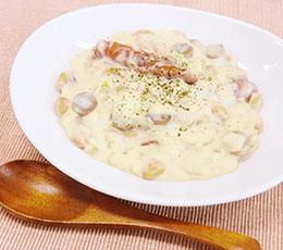 ごぼうと蒸し豆のクリームチャウダー