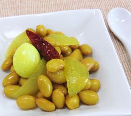 黄色い蒸し豆のマリネ