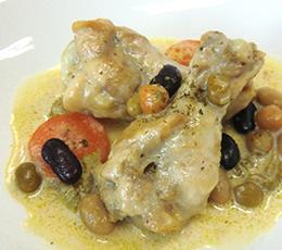 鶏肉とサラダ豆のフリカッセ
